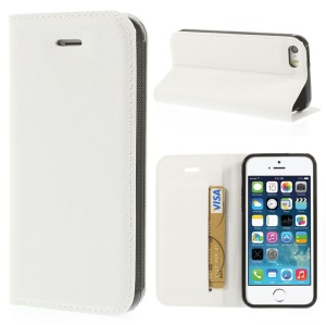 Cross Texture Leather Card Holder Cover w/ Stand for iPhone 5s 5 - White