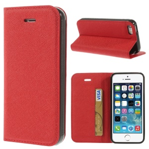 Cross Texture Leather Card Holder Shell w/ Stand for iPhone 5s 5 - Red
