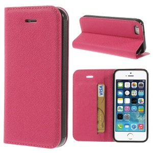 Cross Texture Leather Stand Shell w/ Card Slot for iPhone 5s 5 - Rose