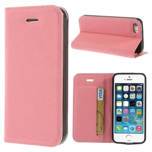 Cross Texture Leather Stand Case w/ Card Slot for iPhone 5s 5 - Pink