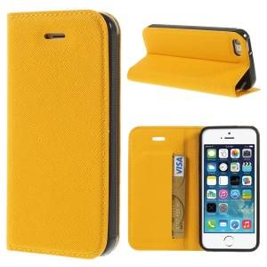 Cross Texture Leather Stand Cover w/ Card Slot for iPhone 5s 5 - Yellow