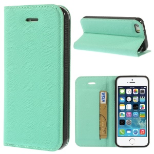 Cross Texture Leather Stand Case Cover w/ Card Slot for iPhone 5s 5 - Cyan