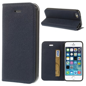Cross Texture Leather Magnetic Case w/ Card Slot & Stand for iPhone 5s 5 - Blue