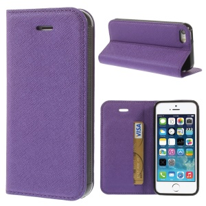 Cross Texture Leather Magnetic Cover w/ Card Slot & Stand for iPhone 5s 5 - Purple