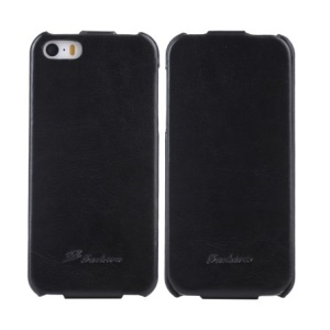 KLX Realize Series for iPhone 5s 5 Oil Wax Crazy Horse Vertical Flip Leather Case - Black