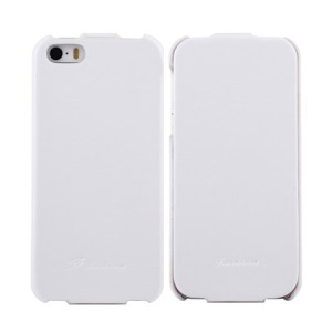 KLX Realize Series for iPhone 5s 5 Oil Wax Crazy Horse Vertical Flip Leather Cover - White