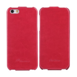KLX Realize Series for iPhone 5s 5 Oil Wax Crazy Horse Vertical Flip Leather Shell - Red