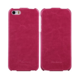 KLX Realize Series for iPhone 5s 5 Oil Wax Crazy Horse Leather Vertical Flip Case - Rose