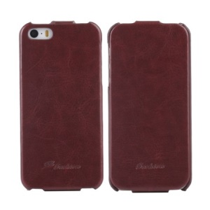 KLX Realize Series for iPhone 5s 5 Oil Wax Crazy Horse Leather Vertical Flip Cover - Brown