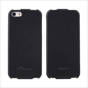 KLX for iPhone 5s 5 Bingqing Series Litchi Grain Genuine Leather Vertical Case Cover - Black