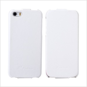 KLX for iPhone 5s 5 Bingqing Series Litchi Grain Genuine Leather Vertical Case Cover - White