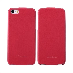 KLX for iPhone 5s 5 Bingqing Series Litchi Grain Genuine Leather Vertical Flip Cover - Red