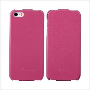 KLX for iPhone 5s 5 Bingqing Series Litchi Grain Genuine Leather Vertical Flip Case - Rose