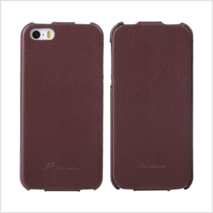 KLX Bingqing Series Litchi Grain Genuine Leather Vertical Flip Case for iPhone 5s 5 - Brown