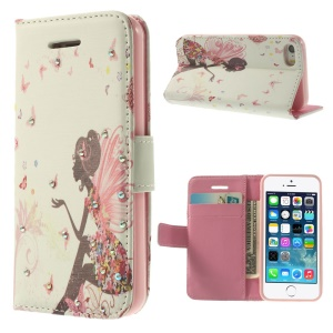 Bling Rhinestone Leather Wallet Stand Shell for iPhone 5s 5 - Flower Fairy & Butterfly