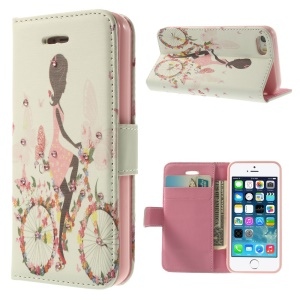 Bling Rhinestone Leather Wallet Case w/ Stand for iPhone 5s 5 - Cycling Girl
