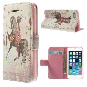 Bling Rhinestone Leather Wallet Cover w/ Stand for iPhone 5s 5 - Girl Riding a Horse