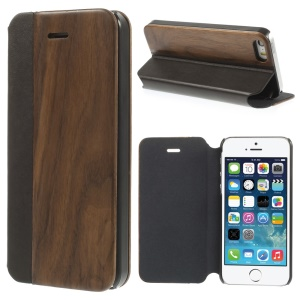 PU Leather + Real Black Walnut Magnetic Case w/ Stand for iPhone 5s 5