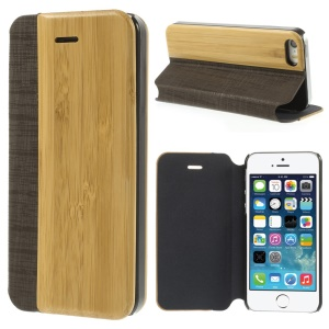 PU Leather + Real Bamboo Magnetic Cover w/ Stand for iPhone 5s 5