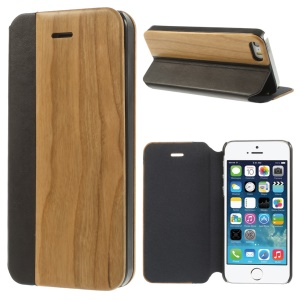 PU Leather + Real Cherry Magnetic Shell w/ Stand for iPhone 5s 5