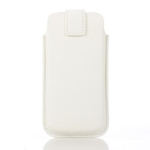 Lychee Grain Cowhide Leather Magnetic Pouch Case for iPhone 5s 5 - White