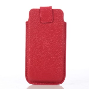 Lychee Grain Cowhide Leather Magnetic Pouch Cover for iPhone 5s 5 - Red
