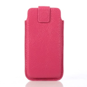 Lychee Grain Cowhide Leather Magnetic Pouch Shell for iPhone 5s 5 - Rose