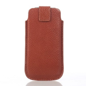 Lychee Grain Cowhide Leather Magnetic Pouch Shell Cover for iPhone 5s 5 - Brown