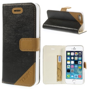 Crazy Horse Texture Leather Stand Case w/ Card Slot for iPhone 5s 5 - Black