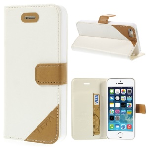 Crazy Horse Texture Leather Stand Cover w/ Card Slot for iPhone 5s 5 - White