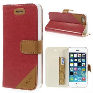 Crazy Horse Texture Leather Stand Shell w/ Card Slot for iPhone 5s 5 - Red