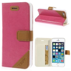 Crazy Horse Texture Leather Magnetic Case w/ Stand & Card Slot for iPhone 5s 5 - Rose