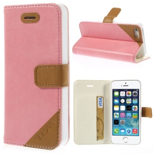 Crazy Horse Texture Leather Magnetic Cover w/ Stand & Card Slot for iPhone 5s 5 - Pink