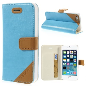 Crazy Horse Texture Leather Cover w/ Stand & Card Slot for iPhone 5s 5 - Blue