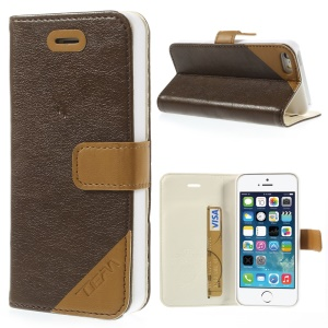 Crazy Horse Texture Leather Case w/ Stand & Card Slot for iPhone 5s 5 - Coffee
