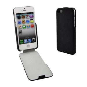 Lines Texture Vertical Flip PU Leather Case for iPhone 5s 5 - Black