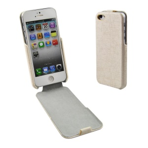 Lines Texture Vertical Flip PU Leather Cover for iPhone 5s 5 - Beige
