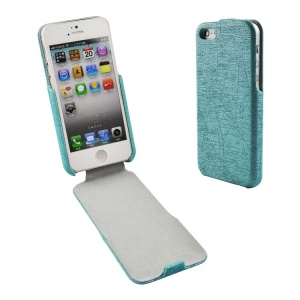 Lines Texture PU Leather Vertical Flip Case for iPhone 5s 5 - Cyan