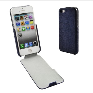 Lines Texture PU Leather Vertical Flip Cover for iPhone 5s 5 - Deep Blue
