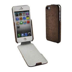 Lines Texture PU Leather Vertical Flip Shell for iPhone 5s 5 - Brown