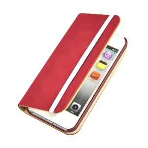 Red Detachable PU Leather Wallet Cover w/ Elastic Band for iPhone 5s 5