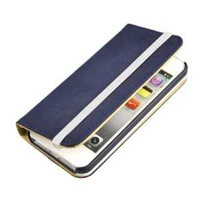 Blue Detachable PU Leather Wallet Shell w/ Elastic Band for iPhone 5s 5
