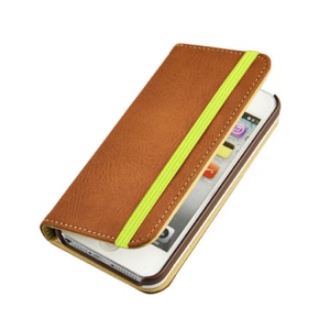 Brown Detachable PU Leather Wallet Shell Cover w/ Elastic Band for iPhone 5s 5