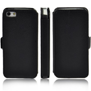 Litchi Grain Leather Stand Folio Case for iPhone 5s 5 - Black