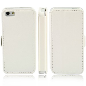 Litchi Grain Leather Stand Folio Cover for iPhone 5s 5 - White