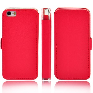 Litchi Grain Leather Stand Folio Shell for iPhone 5s 5 - Red
