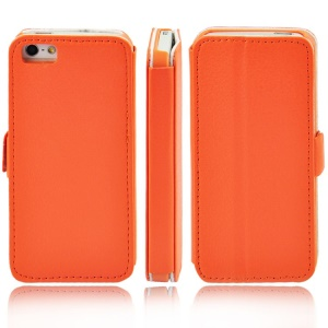 Litchi Grain Leather Stand Cover for iPhone 5s 5 - Orange