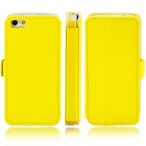 Litchi Grain Leather Stand Shell for iPhone 5s 5 - Yellow