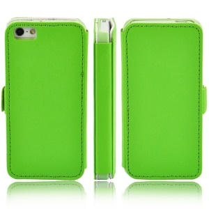 Litchi Grain Leather Case w/ Stand for iPhone 5s 5 - Green