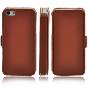 Litchi Grain Leather Cover w/ Stand for iPhone 5s 5 - Brown